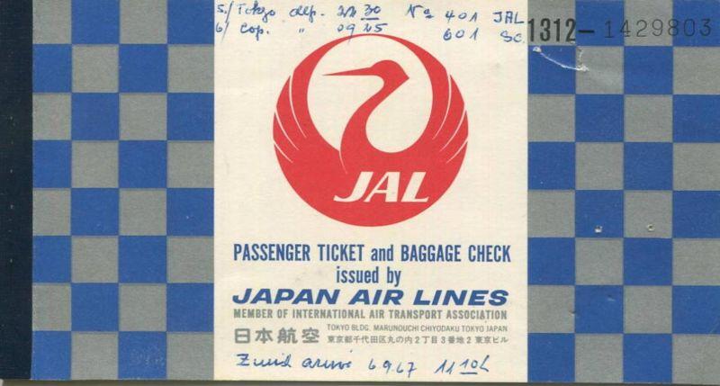 JAL Japan Air Lines 1967 Tokyo Kopenhagen Zürich