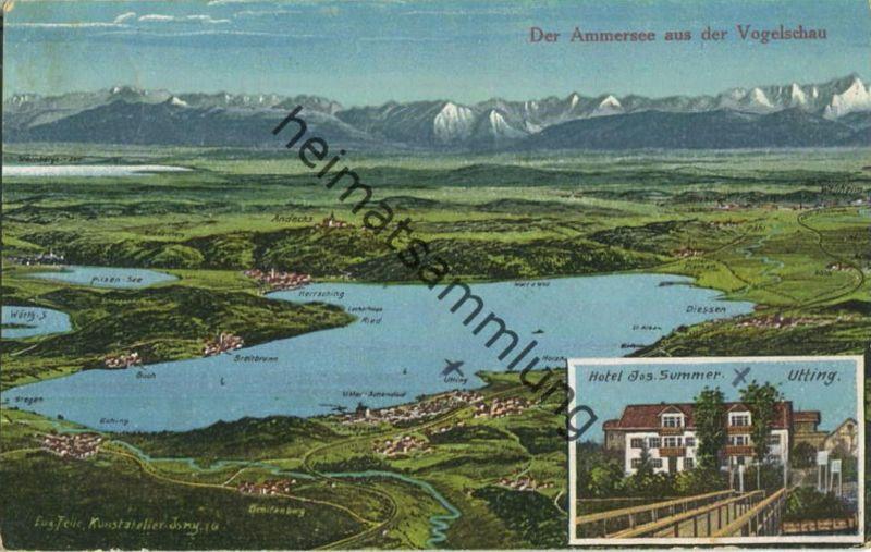 86919 Utting - Hotel Jos. Summer - Der Ammersee aus der Vogelschau - Verlag Jos. Summer Utting - Eugen Felle Isny