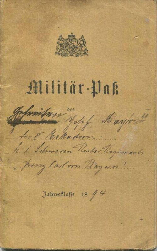 Deutschland - Militär-Pass Gefreiter der V. Eskadron k. l. Schweren Reiter Regiment
