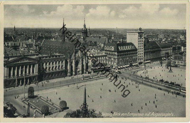 Leipzig - Augustusplatz - Blick vom Europahaus - Strassenbahn