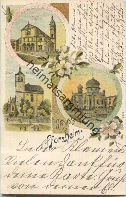 Pforzheim - Synagoge - Kirchen - Farblithographie