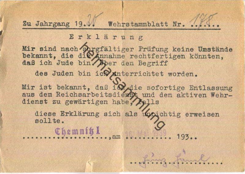 Wehrstammblatt 1939 - Chemnitz - Bescheinigung über Nicht-Jude