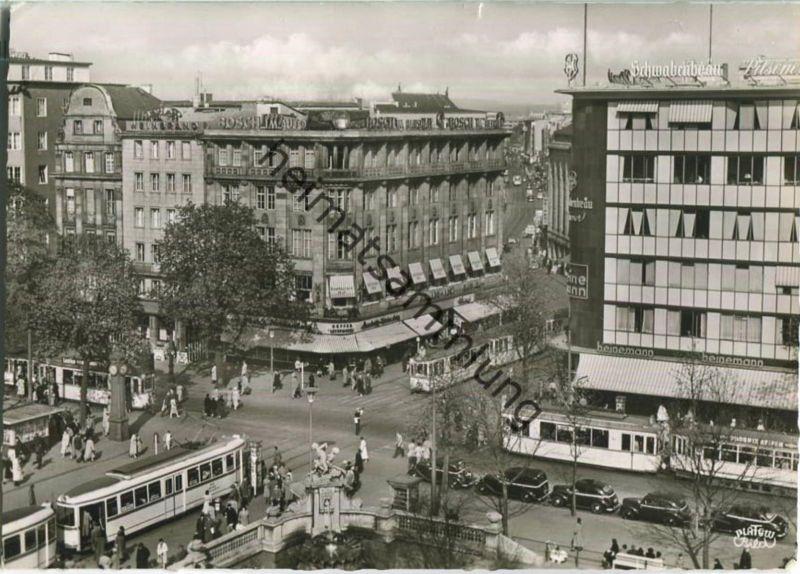 Düsseldorf - Corneliusplatz - Schadow Strasse - Strassenbahn - Foto-Ansichtskarte Grossformat
