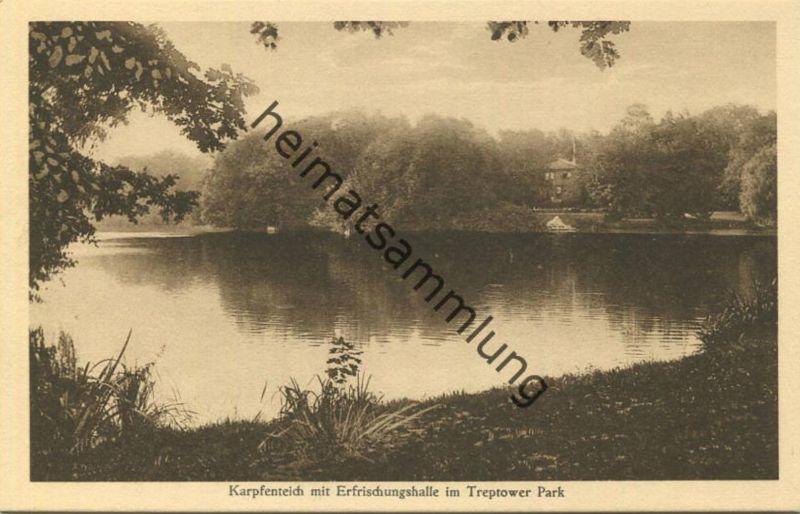 Berlin - Treptow - Karpfenteich mit Erfrischungshalle im Treptower Park 30er Jahre - Verlag J. Goldiner Berlin