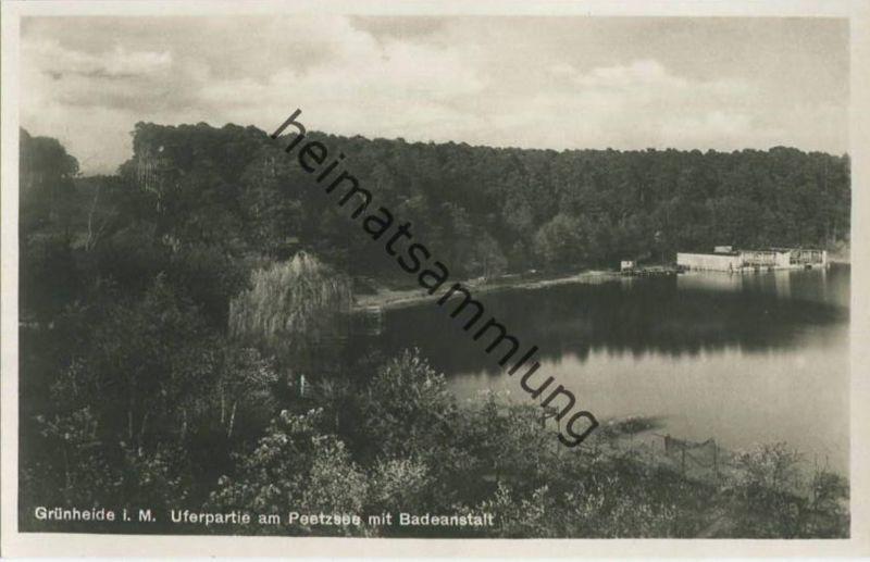 Grünheide i. M. - Uferpartie am Peetzsee mit Badeanstalt - Foto-AK 30er Jahre - Verlag W. Meyerheim Berlin