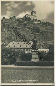 56349 Caub am Rhein - Blücherdenkmal - Foto-Ansichtskarte 30er Jahre - Verlag Ottmar Zieher München