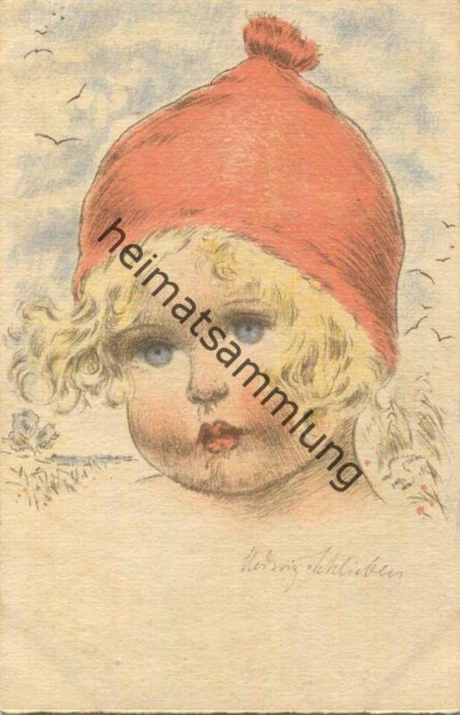 Kind mit roter Mütze - Künstlerkarte signiert Hedwig von Schlieben