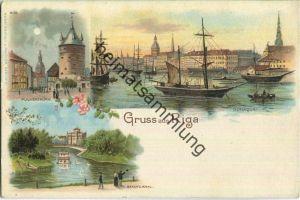 Riga - Pulverturm - Dunaquai - Künstler-Ansichtskarte - Verlag J. Miesler Berlin