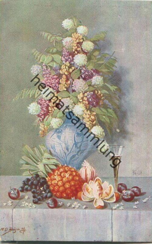 Blumenvase - Künstler-Ansichtskarte signiert