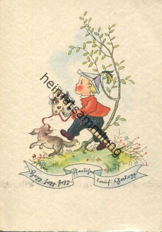 Hopp hopp hopp... - Junge auf einem Steckenpferd - AK Großformat - Flechsig Kunstkarte Nr. 722