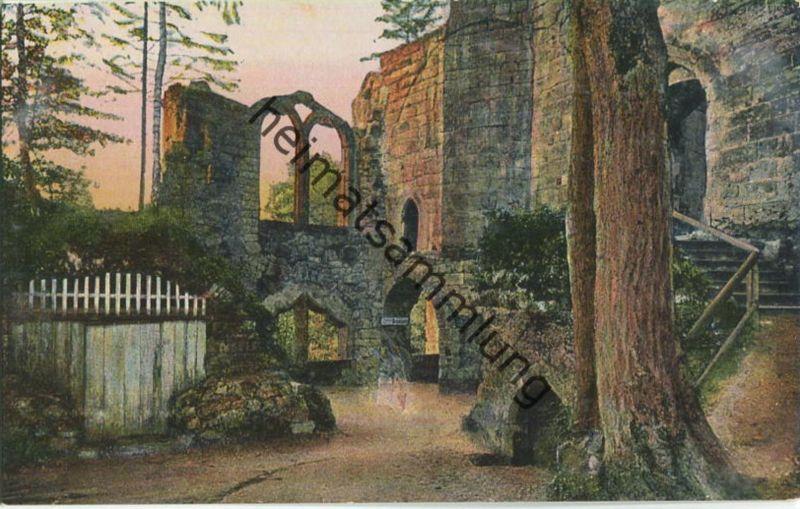 Oybin - Eingang zum Kreuzgang und Kirchenruine - Verlag E. Wagner Söhne Zittau 20er Jahre