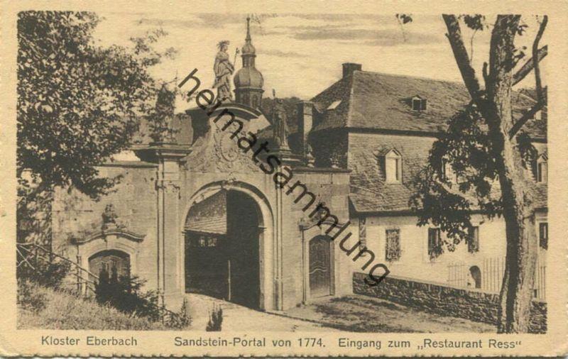 Eberbach - Sandstein-Portal von 1774 - Eingang zum Restaurant Ress - Inhaber Balth. Ress Weingutbesitzer