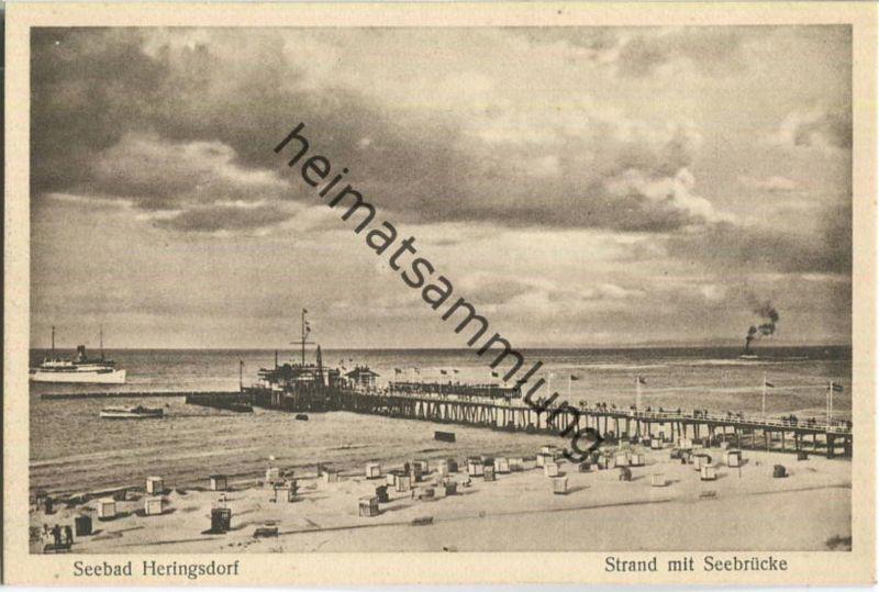 Heringsdorf - Strand mit Seebrücke - Verlag E. Rubin & Co. Lübeck 30er Jahre