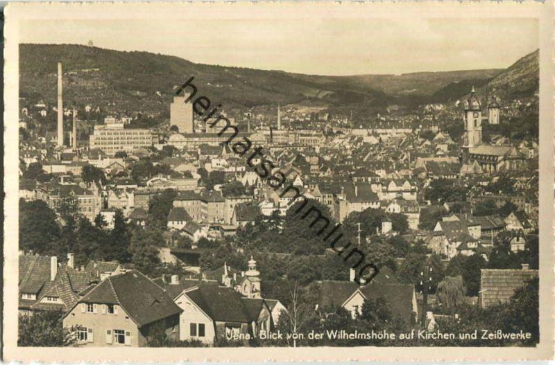 Jena - Blick von der Wilhelmshöhe auf Kirchen und Zeißwerke - Foto-Ansichtskarte - Verlag Hermann Paris Jena