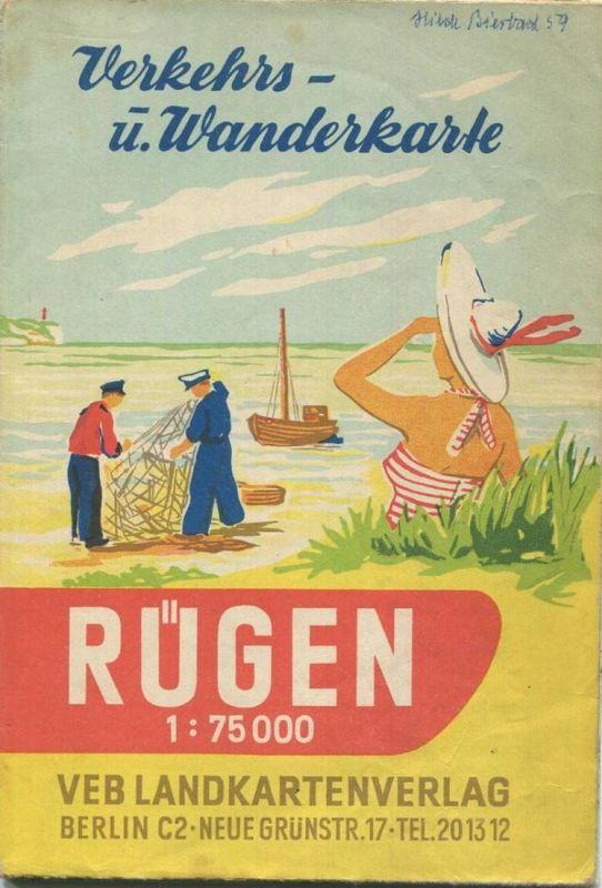 Deutschland - Rügen 1957 - Verkehrs- und Wanderkarte 69cm x 80cm 1:75'000