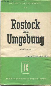 Deutschland - Rostock und Umgebung 50er Jahre - Wanderkarte 58cm x 82cm 1 : 75'000 - VEB Bibliographisches Institut Leip