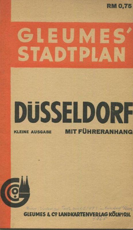 Deutschland - Düsseldorf 1940 - Gleumes Stadtplan kleine Ausgabe mit Führeranhang 50cm x 65cm 1:14'000