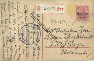 10 Cent - Landespost in Belgien - Postkarte über Teilungsstrich - Einschreiben - Zensur