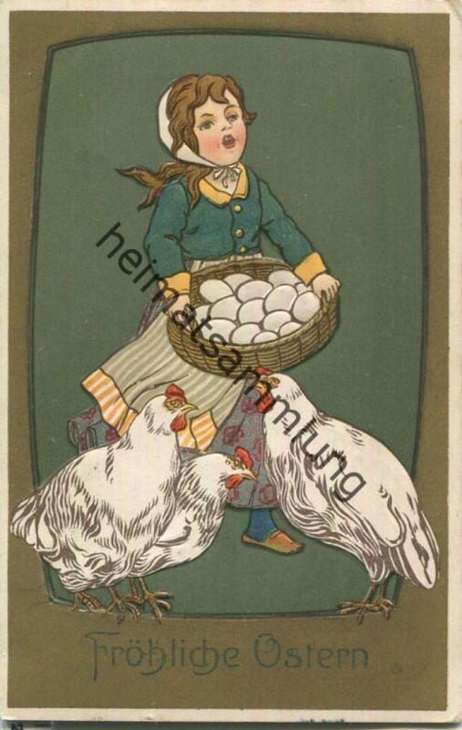Ostern - Hühner - Frau - Eier - Prägedruck