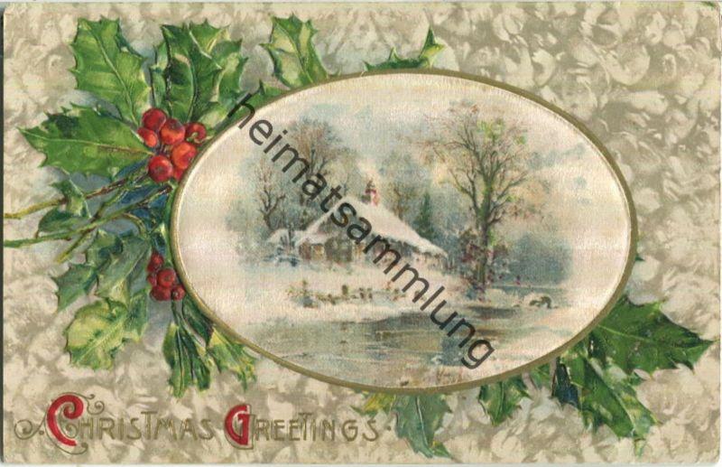 Weihnachten - Christmas Greetings - Stechpalmen - Prägedruck