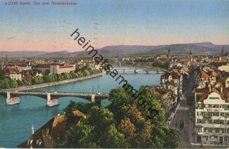 Basel - Die drei Rheinbrücken - Edition Photoglob Zürich - gel. 1926