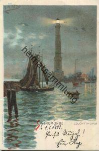 Swinoujscie - Swinemünde - Leuchtturm - Künstler-Ansichtskarte - Verlag J. Miesler Berlin