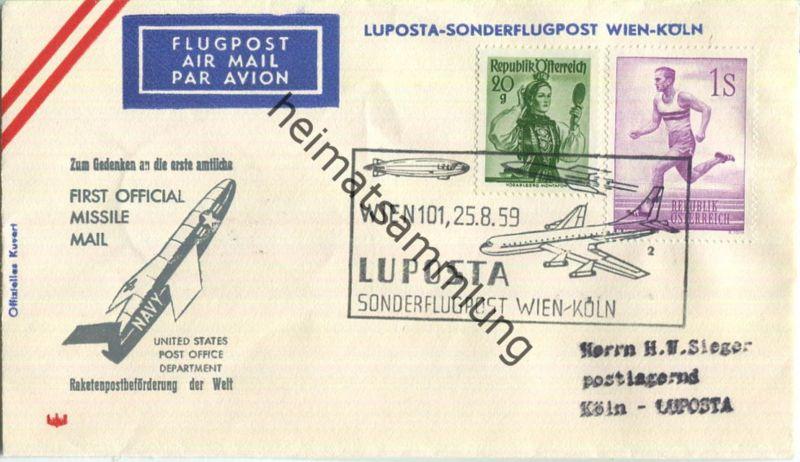 Luftpost Deutsche Lufthansa - LUPOSTA Sonderflug Wien - Köln am25.August 1959
