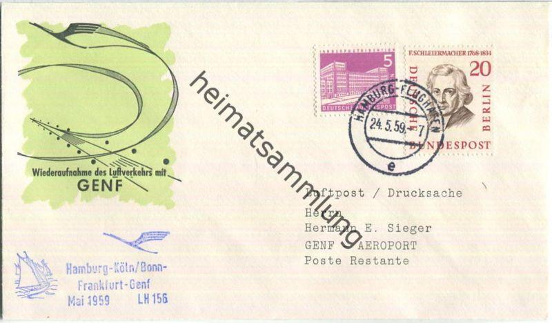 Luftpost Deutsche Lufthansa - Wiederaufnahme des Luftverkehrs Hamburg - Genf am24.Mai 1959