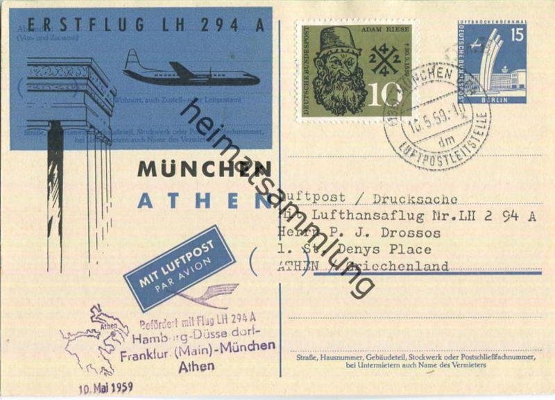 Luftpost Deutsche Lufthansa - Postkarte - Erstflug München - Athen am10.Mai 1959