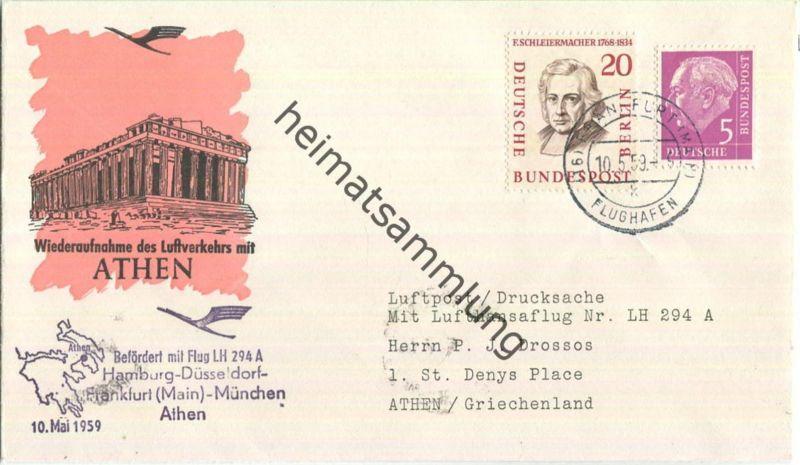 Luftpost Deutsche Lufthansa - Wiederaufnahme des Luftverkehrs Frankfurt am Main - Athen am10.Mai 1959