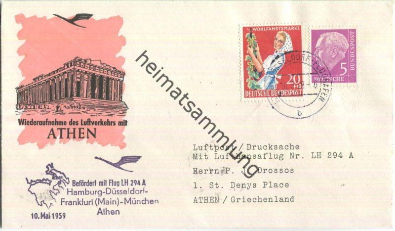 Luftpost Deutsche Lufthansa - Wiederaufnahme des Luftverkehrs Düsseldorf - Athen am10.Mai 1959