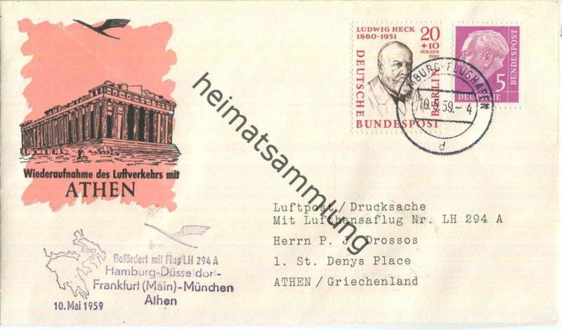 Luftpost Deutsche Lufthansa - Wiederaufnahme des Luftverkehrs Hamburg - Athen am10.Mai 1959