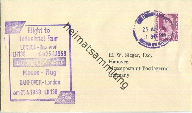 Luftpost Deutsche Lufthansa - Messeflug London - Hannover am25.April 1959