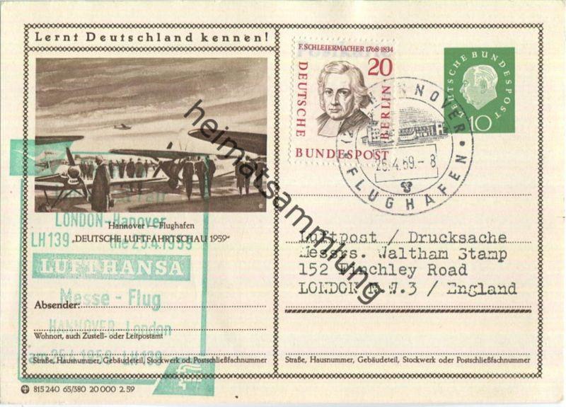 Luftpost Deutsche Lufthansa - Postkarte - Messeflug Hannover - London am25.April 1959