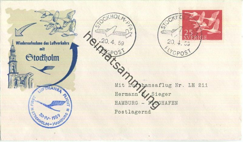 Luftpost Deutsche Lufthansa - Wiederaufnahme des Luftverkehrs Stockholm - Hamburg am20.April 1959