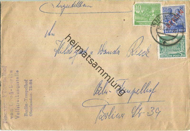 Ortsbrief Berlin - 65 Pf. mit 50 Pf. Rotaufdruck - Abs. Finanzamt Tempelhof am 5.August 1949