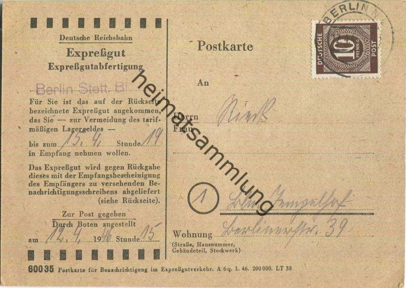Ortskarte Berlin - Expressgut-Abholung - Deutsche Reichsbahn - 12.April 1946