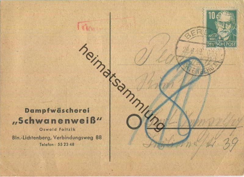 Ortskarte Berlin-Lichtenberg 1 am 29.Juni 1949 nach Tempelhof - Nachgebühr 10 Pf. - dann 8 Pf. Ortsgebühr