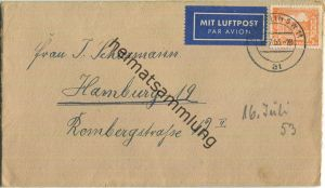 Brief Berlin - 25 Pf. Bauten Luftpost nach Hamburg am 16.Juli 1953