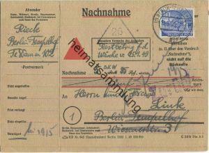 Doppelkarte Berlin - 30 Pf. Bauten Nachnahme 1950