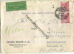 Rohrpost Berlin - Postschnelldienst - 80 Pf. Bauten Eilboten am 8.Januar 1951 - rückseitig Minutenstempel