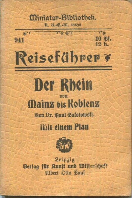 Miniatur-Bibliothek Nr. 941 - Reiseführer Der Rhein von Mainz bis Koblenz von Dr. Paul Sakolowski mit einem Plan - 8cm x