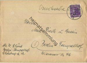 Brief Berlin - 6 Pf. Schwarzaufdruck - Drucksache - Ortsbrief