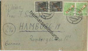 Brief Berlin - zweimal 2 Pf. Rotaufdruck plus zweimal 10 Pf. Rotaufdruck - Fernbrief nach Hamburg