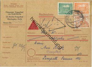 Brief Berlin - Nachnahme 34 Pf. Bauten (Hundesteuer) - Ortskarte 1952