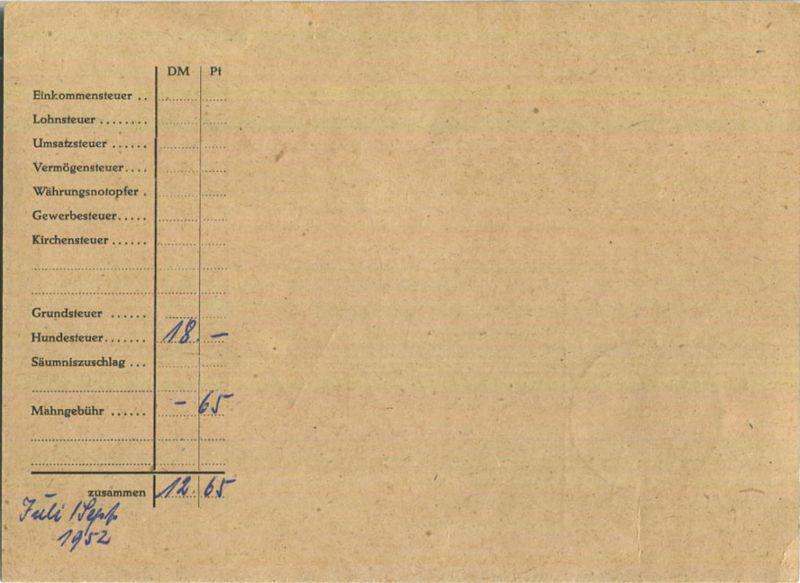 Brief Berlin Nachnahme 34 Pf Bauten Hundesteuer Ortskarte