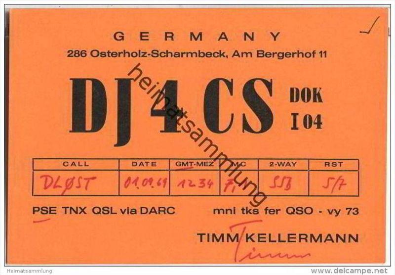 QSL - QTH - Funkkarte - DJ4CS - Osterholz-Scharmbeck - 1969