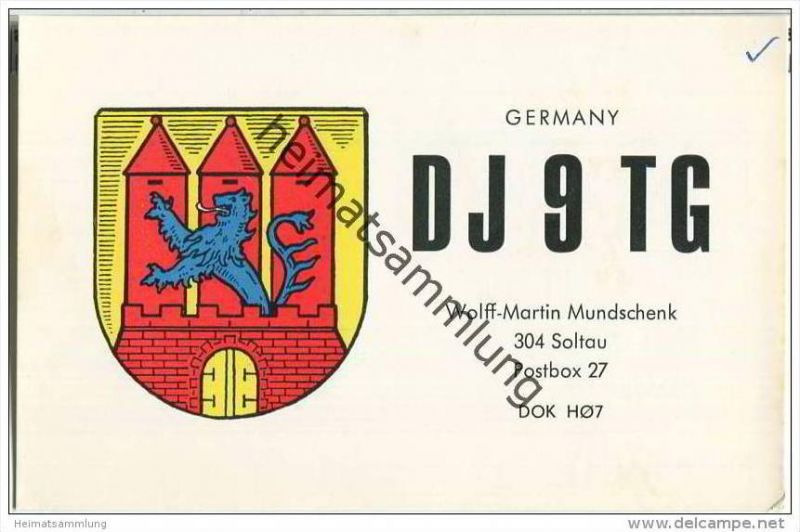 QSL - QTH - Funkkarte - DJ9TG - Soltau - 1969