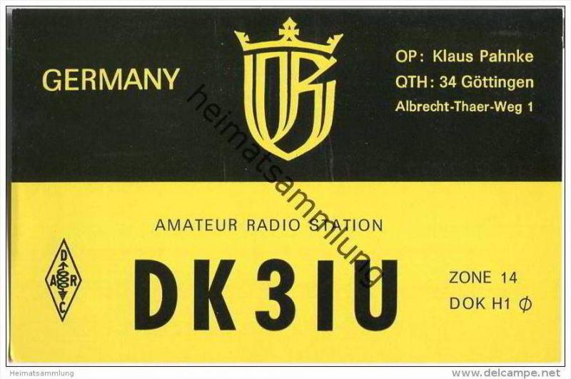QSL - QTH - Funkkarte - DK3IU - Göttingen - 1969