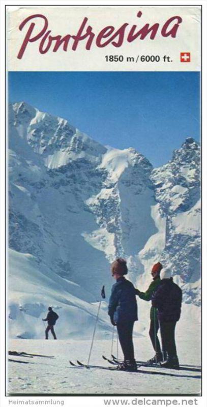 Pontresina 1970 - Faltblatt mit 9 Abbildungen - Hotelliste mit 33 Abbildungen der Hotels - Ortsplan - Skischulpreise